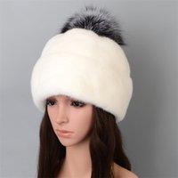 Nerz Hut Winter Frauen 2020 Damen Strickmütze mit Pom Pom Echt Pelz Fox Cap Weibliche Mode Pompon Mütze Für Frauen Kordelzug LJ201221