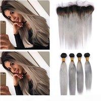"Paquetes de Ombre de gris plateado con frontal # 1b Ombre gris Ombre Brasileño Straight Weave Human Hair 4 Bundles con cierre de encaje frontal 13x4 """