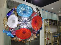 Plaque de verre Morano Art Chandelier Éclairage Moderne Cristal Plaques Lampe de pendentif pour la cuisine Décor du salon
