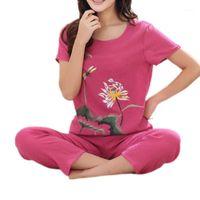 Damen Sommer Plus Size Pyjamas Set Chinese Floral Print Kurzarm Tops Capri Hosen Lose Nachtwäsche Lounewear XL-4XL1