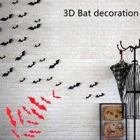 Decorazioni di Halloween 3D Adesivo di pipistrello 3D Adesivo da parete PVC Tridimensionale Autoadesivo rosso e nero Autoadesivo 12pcs / lot HWWE1316