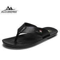 Alcubieree Sommer Herren atmungsaktive Sandalen für Mann Casual Flip Flops Echtes Leder Rutschen Hausschuhe Outdoor Beach Schuhe Homme Y200702