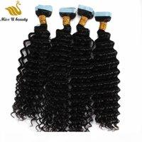 PU Saç Atkı Su Dalgası İnsan Saç Demetleri Cilt Atkı Uzantıları Çift Yüzlü Yapışkan Bant Saç 40 ADET Bir Paket 8-30 inç