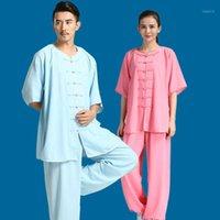 남성용 전통 중국 의류 쿵후 유니폼 Wushu 정장 여성 무술 Taichi 의상 아침 운동 Sportswear1