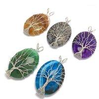 Подвески натуральные каменные подвески -Color проволочные обертки эллиптические подвески для ювелирных изделий изготовления DIY ожерелье аксессуары1