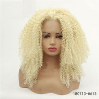 613 blonde synthetische spitze frontalperücken afro kinky curly lacefront perücke hohe temperaturfaser perruques de cheveux formen 180713- # 613