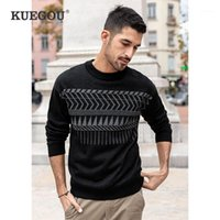 Kuegou 2021 Bahar Pamuk Geometrik Siyah Kazak Erkekler Kazak Rahat Jumper Erkek Moda Giyim Marka Örme Giysiler 260821