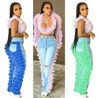 S-2XL Kadın Denim Jeans Katmanlı Katmanlı Katmanlar Mesh Dantel Patchwork Pantolon Ön Arka Farklı Pantolon Tasarımcılar Butik Giyim F101901