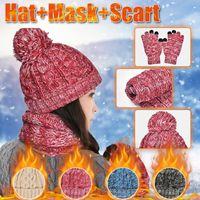 الأزياء 3 قطعة وشاح قفازات دافئة الخريف الشتاء محبوك الصوف قبعة سميكة وشاح قفازات الدافئة محبوك حلقة الدائري والأوشحة الأزياء L3