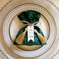 Envoltório de presente 10pcs 2021 Rosa / Vermelho / Verde Veludo Caixa de Doces Festa de Festa de Aniversário Fornecedores De Casamento Sacos De Bolo Doce