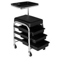 WACO Nouveau manucure professionnel Pédicure Tabouret roulé avec tiroirs, chariot de manucure pour salon beauté coiffure spa noir