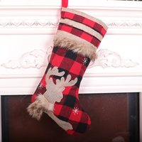 Бесплатная доставка красный и черный сетки плюс бархат Рождественские украшения чулок мультфильм мило животное Рождество кулон подарок мешок F5903