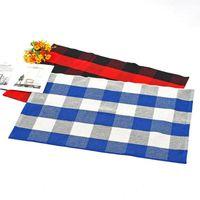 블랙 / 화이트 / 그레이 버팔로 체크 Doormat 면화 및 리넨 격자 러그 손 - 짠 격자 무늬 카펫 주방 욕실 GGA3796