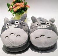 Söt tecknad totoro hålla varm grå totoro katt kawaii vinter bomull hem rum skor par mjuka fyllda icke-slip kvinnor tofflor x1020