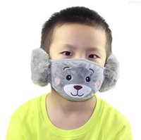 Bear 2 Thick Child Mask Mouth Protective Mouth-Muffle Face Ear Warm Masks Kids And With Plush Hmdbu In For Cartoon Winter 1 Party Jkntk