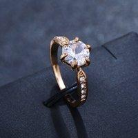 Hersteller Großhandel sechs Klaue Farbe Kristallzircon Ring für Frauen Hochzeit Schmuck Ringe
