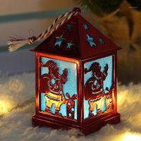 Party Villa Home Рождество висит декор декора орнаменты DIY украшения светлые куклы дома светящиеся светодиодные деревянные дерево1