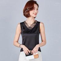Kadın Bluzlar Gömlek Yaz Bluz Kadın Moda Siyah Beyaz Şifon Gömlek Kolsuz Dantel V Yaka Tops Tee 2021 6 Renkler Yüksek Kalite Fa