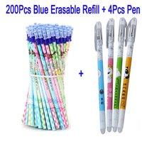 Delvtch 0.5mm Pena Erasable Refill 200pcs / Set Gel Pen Rod Pena Mágica Azul / Preto Escritório Escola Escola Escrita Escrita Presente Y200709