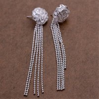 Schöne Rosen Perlen Kette Silber Farbe Ohrstecker Hohe Qualität Hot Classic Burst Models Silber Schmuck Hochzeit E048 H JLLCKO