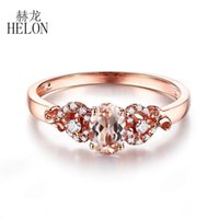 Helon Sólido 14k Rose Oval ouro 6x4mm genuíno Morganite Diamante Beleza da noiva do acoplamento do casamento Fine Jewelry Anel presente Mulheres