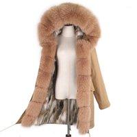 Lavelache 2020 kadın gerçek kürk kürk astar kapüşonlu uzun giyim largenatru yaka kış sıcak ceket1