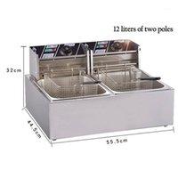 Procesadores de alimentos WJ-802 Fichas eléctricas Fryer Friendlines Commercial Doble Cilindro Frisa Frita Máquina Temperatura constante1