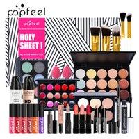 Popfeel All in One Makeup Kit المهنية مستحضرات التجميل مجموعة كاملة عينيه الشفاه ماكياج فرش الحاجب المخفي