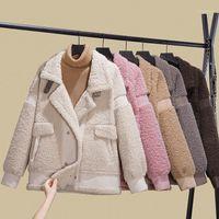 Mulher Faux Feminina Mulheres Imitação Lameiro Lã Casaco Curto Algodão Jaqueta Quente Outerwear Moda Outono e Inverno Pequeno Grão Fleece1