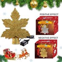 الذهب الفضة أوراق شجرة عيد الميلاد إسقاط الضوء عاصفة ثلجية عيد الشجرة LED ستار الإسقاط مصباح داخلي ندفة الثلج زينة
