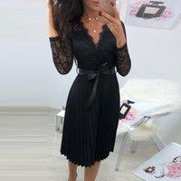 Gumprun estate vestito casual da donna in pizzo a maniche lunghe in pizzo elegante elegante fresco nero nastro cavo cavo chiffon midi abito T200106