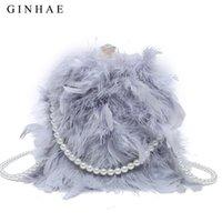 Ginhae Real Party цепочка вечером жемчужина 2020 женская сумка перо плечо леди Crossbody сумочка кошелек страус телефон сумка теплый IOWBF