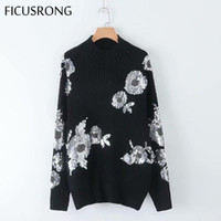 Primavera Outono Inverno Lantejoulas Flor Padrão Camisola Simples Casual O-Neck Sweater Mulheres Mid-Long Knitwear Tops Ladies