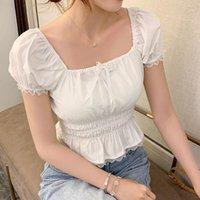 Sweet Solid Sold Sleeve Donne Top Camicetta Collare quadrato Pizzo Elastico Fotografia Donna Camicette Estate Moda Elegante Slim Top Lady1