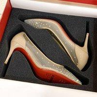высококачественная нижние сексуальная высокая точка обуви на высоких каблуках мода красной мелкого рта, женские платья дамы только кристалл свадьбы