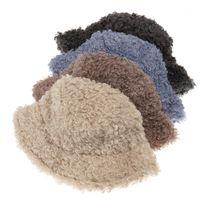 Le donne viaggiano caldo secchio cappello qualità solido colore secchio cappelli signore lanuginoso panama bob pescatore gorros per femmina inverno caps1