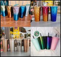 2020 Ultime Starbucks in acciaio inox 16oz tazze di paglia 20 stili tazze di tazze di ghiaccio cubo gradiente tazza auto tazza supporto personalizzato logo
