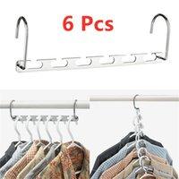 6pcs Cintres de vêtements Multi-user Barre de garde-robe Hanger Canton Argent Vêtements Organisateur Spendu Spendu Rack avec crochet 201111