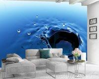 Custom Photo 3d Wallpaper Modern Mural 3d Wallpaper Beautiful Blue Water Drops HD Superior Interior Decorations Wallpaper