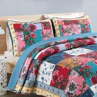 Manuelle Blume Quilting 100% Baumwolle Bettwäsche Set Bettabdeckung Klimaanlage BettPread 230x250cm Patchwork Coveret Bettbezug NEU1