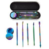 Rainbow Wax Dabber Tool Kit Набор кремниевый контейнер банка сухой травяные инструменты аксессуары с металлическим однократным пакетом DHL бесплатно