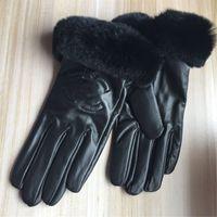 Премиум бренд зимние кожаные перчатки и езда на велосипеде флис сенсорный экран рекс меха кролика рот Холодостойкие тепловой овчина суб палец перчатки