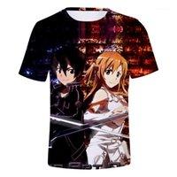 Erkek T-Shirt Kılıç Sanatı Online Katana Kirito Gömlek Erkekler Yaz Rahat 3D Anime T Gömlek Yuki Asuna Tshirt Erkekler için1