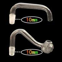 Pas cher 10mm mâle pétards huile claire non fragiles épaisses conduites d'eau du brûleur à huile en verre pyrex pour appareils de forage bong en verre accessoires