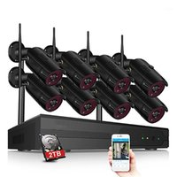 أطقم الكاميرا اللاسلكية CCTV P2P 4CH / 8CH 1080P WiFi NVR System 36 IR للماء في الهواء الطلق فيديو IP أمان Hard Disk1
