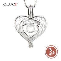 Kolye Takı 925 Gümüş Kafes kolye için İnci Locket Kadınlar kolye Şeklinde CLUCI 3adet Gümüş 925 Kalp