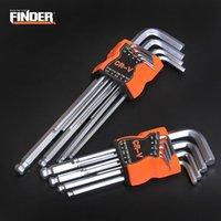 Hand Tools FINDER 9PCS Double-End L Type Screwdriver Hex Wrench Set Allen Key Hexagon Flat Ball Torx Star Head Spanner