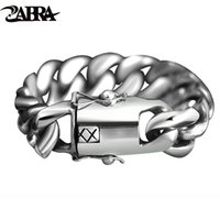 ZABRA 205 Gramm Wide Luxury Solid 925 Silber Big Heavy Armband Männer Link Kette Punk Dominierende Biker Armbänder Mann Schmuck LJ201020