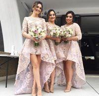 Jewel Heel Country Country Boho Wedding Guest Bridesmaid Платья скромных Плюс Размер Кружева 2020 Высокий Половина Рукава Горничная Человека Формальное Платье