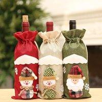 Creative Cartoon Décorations pour la maison Jute broderie Ange Vieillard Bouteille de vin Ensemble housse de Noël Sac cadeau Père Noël Sac FY7170